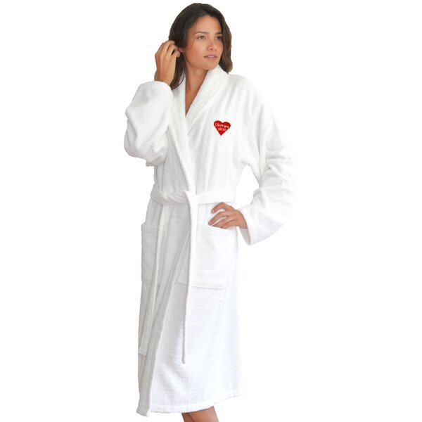 I Love You Mom Embroidered 100% Turkish Cotton Terry Cloth Bathrobe by Linum Home Textiles